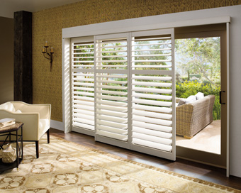 Plantation shutters for bathroom window