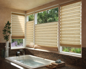 Window coverings for bathrooms