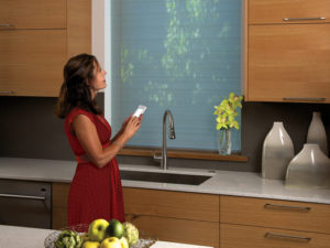 Designer Roller Shades with PowerView™ Motorization in the Kitchen