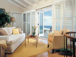 Heritance® Hardwood Shutters on Sliding Door